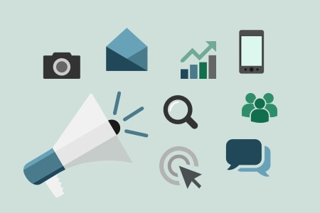 Illustration of various marketing-idea icons.