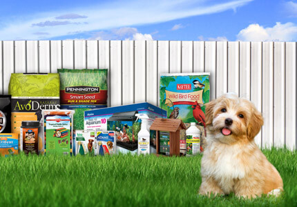 Picture of Central's products in front of a fence with a puppy in the foreground.